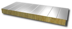 Wall sandwich panel with mineral wool core - visible fixation 100mm