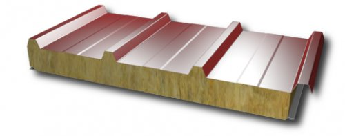 Sandwich panel for roof with mineral wool core 120mm